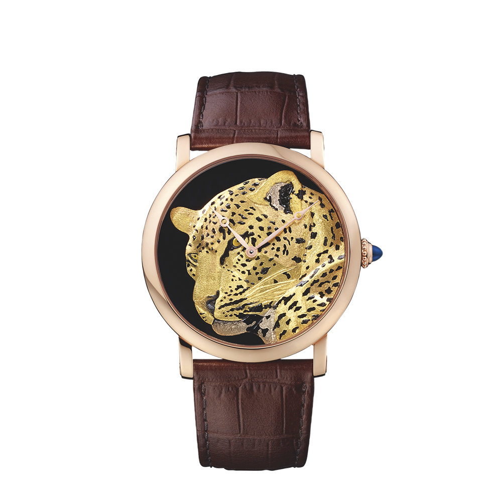 Cartier D'Art Panther Décor Brown Leather Strap Watches