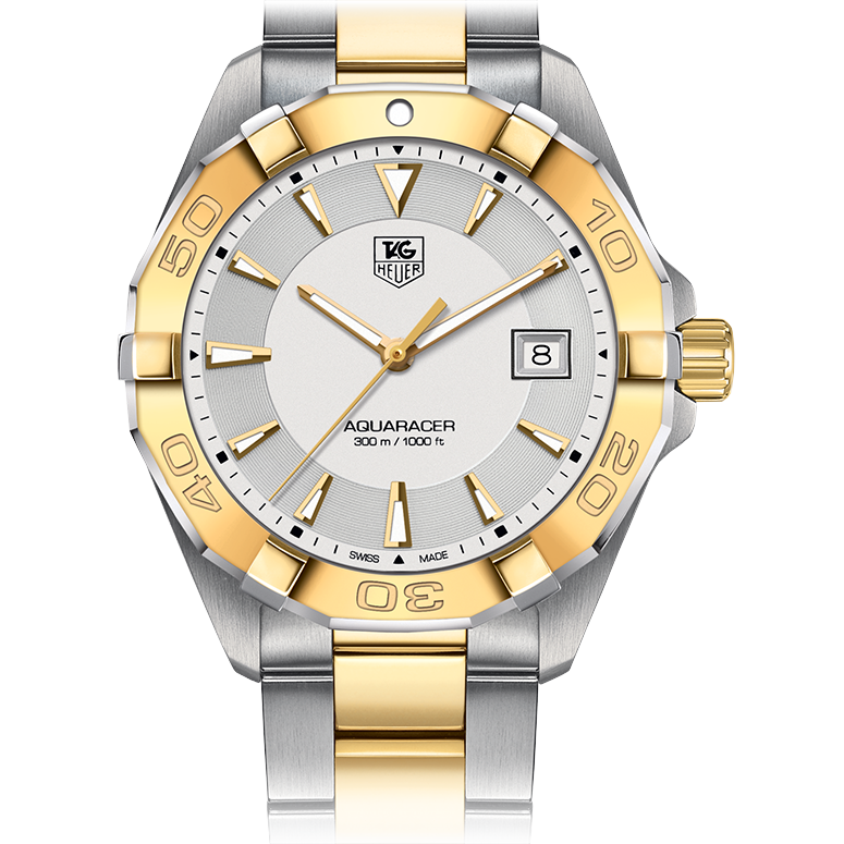 Tag Heuer Aquaracer 40.5MM Silver Dial Steel & Yellow Gold Bezel