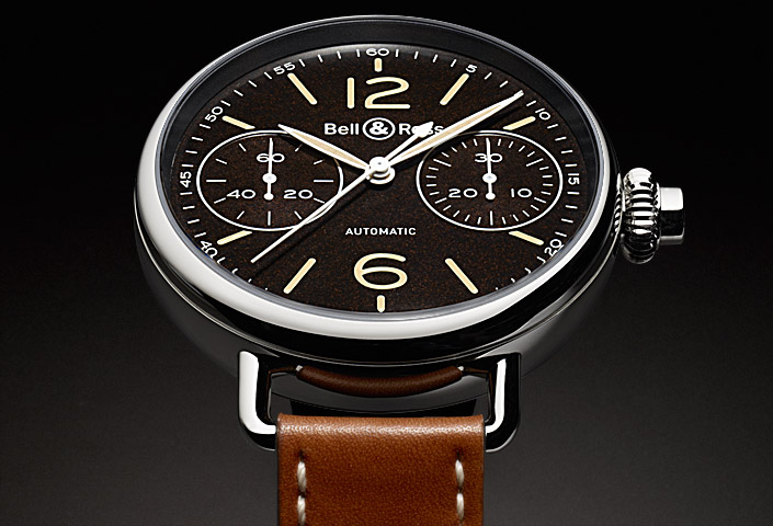 UK Bell & Ross Vintage WW1Chronograph Calfskin Strap Fake Watches