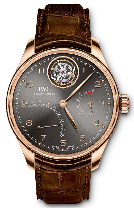 HANDOUT - The Portugieser Tourbillon Mystere Retrograde (Ref. IW504602) from IWC Schaffhausen: case in 18-carat red gold, slate-coloured dial and dark brown alligator leather strap by Santoni with a folding clasp in 18-carat red gold. (PHOTOPRESS/IWC)