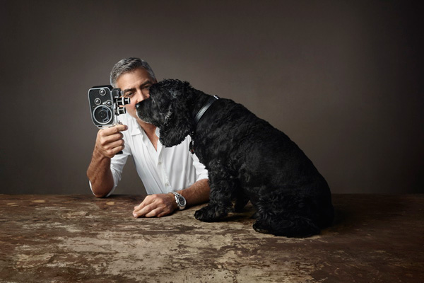 George Clooney and his dog and black dial copy Omega Seamaster