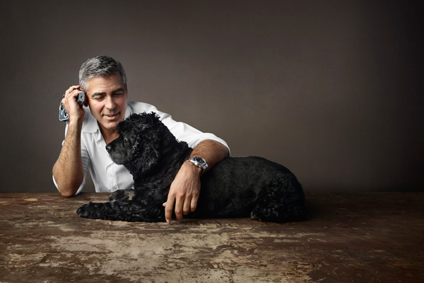 George Clooney and stainless steel case copy Omage Seamaster
