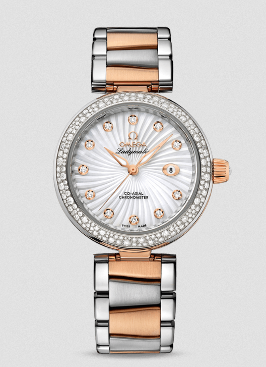 Omega De Ville Ladymatic Co-Axial Copy Watches With White Mother-Of-Pearl Dial
