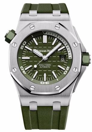 For the unique green color, this white scale fake Audemars Piguet watch easily catch people's attention.