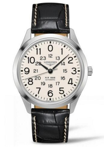 For this steel case fake Longines with vintage feeling, that also can see the elegant charm. Beige dial is decorated with black scale and pointers, matching steel case and black leather strap, completely showing the vintage design style.