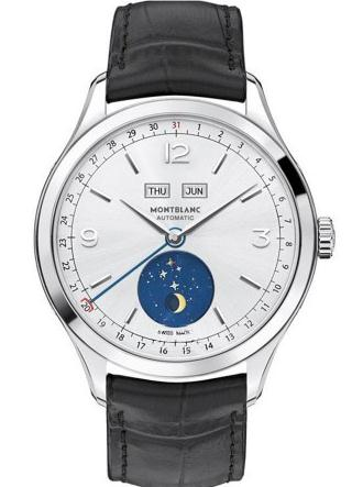 Adopting the eye-catching moonphase display upon the white dial, this replica Montblanc watch easily catches people's attention.
