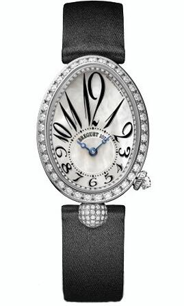 For the decoration of diamonds on the white gold casebody, this replica Breguet watch directly shows the luxurious design style.