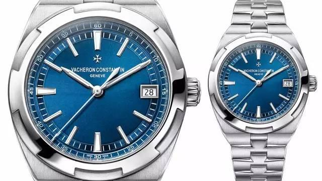 The steel copy watches have blue dials.