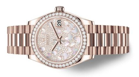 The everose gold fake Rolex watches are decorated with diamonds.