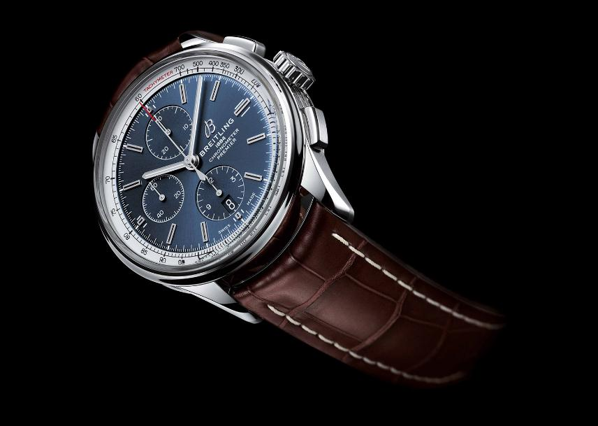 The blue dials copy watches have brown leather straps.