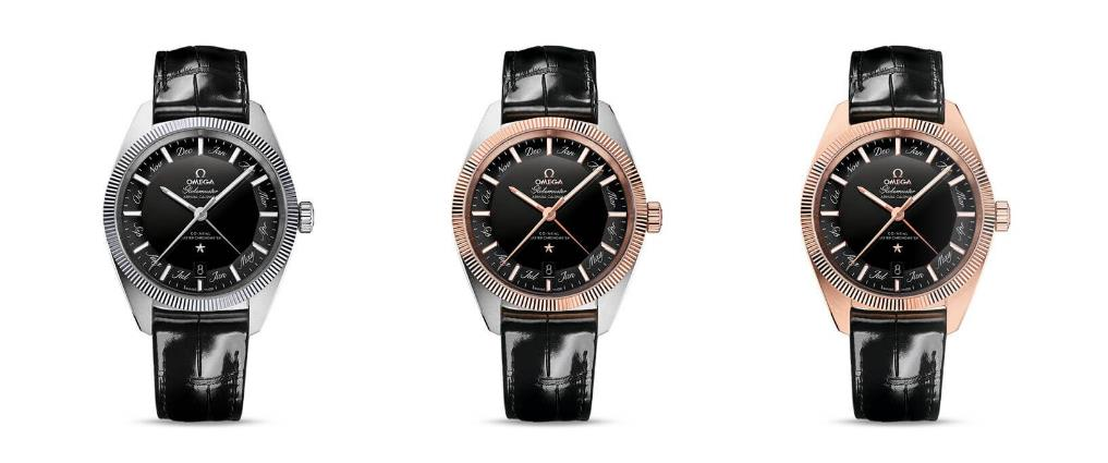The black dials replica watches have black leather straps.