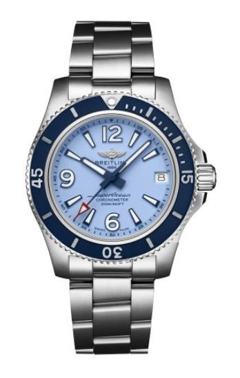 The stainless steel fake watches have blue dials.