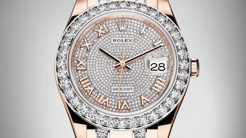 The female copy watches are decorated with diamonds.