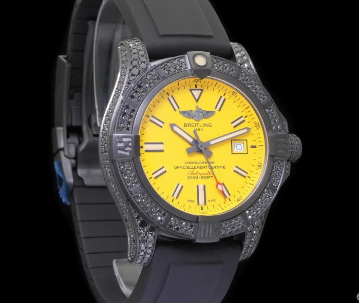 The 44 mm fake watches are made from titanium.