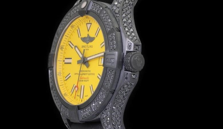 The yellow dials copy watches are decorated with diamonds.