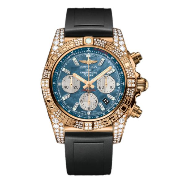 The 18k rose gold fake watches have black rubber straps.