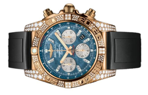 The blue dials copy watches are decorated with diamonds.