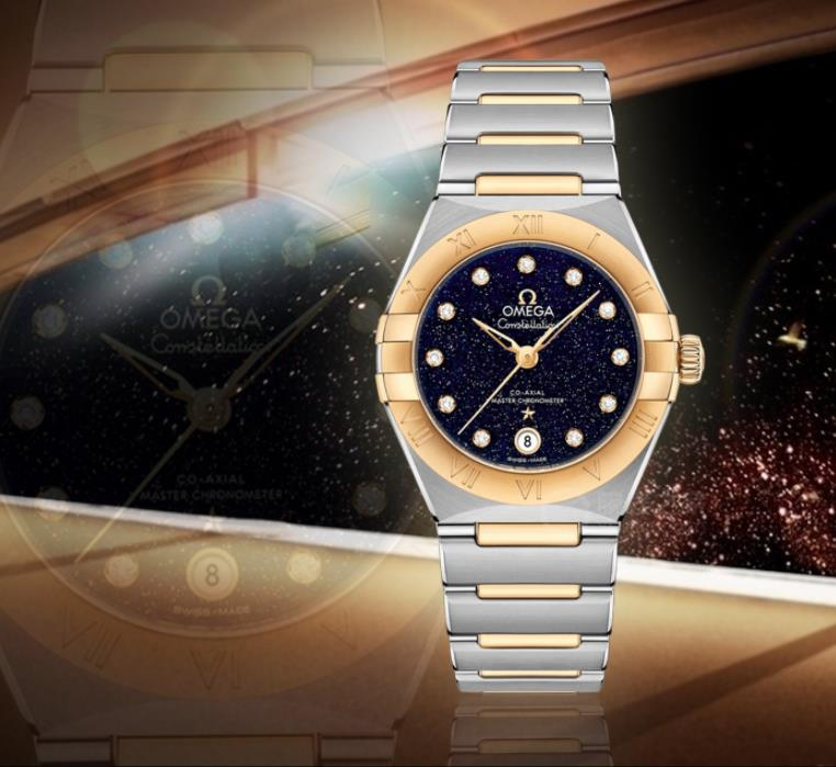 The 29 mm replica watches are made from 18k gold and stainless steel.