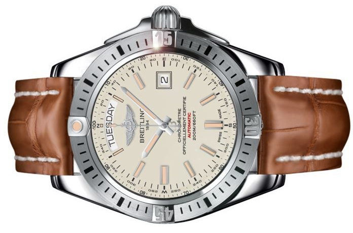 The silvery dials copy watches have both day and date windows.