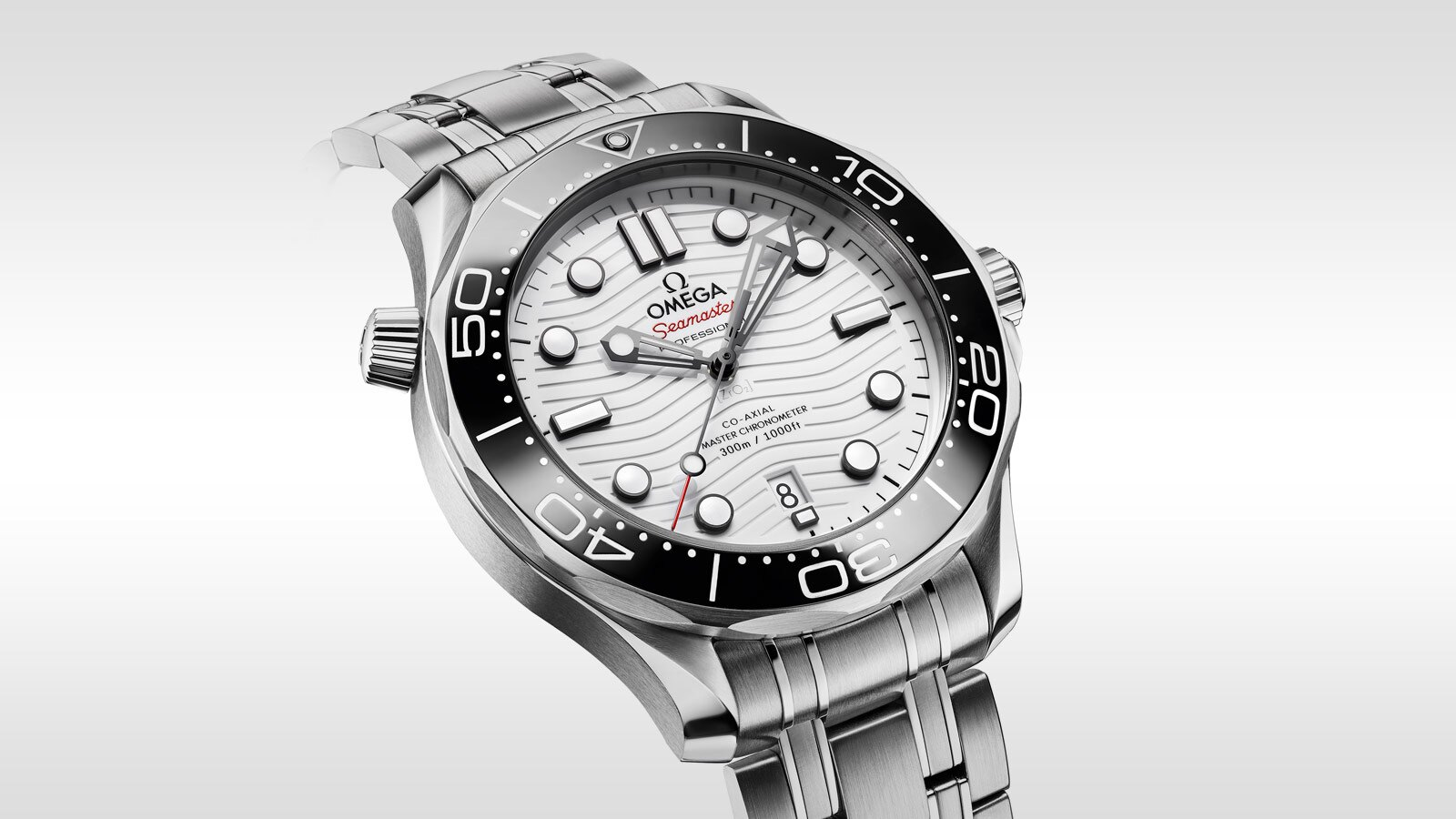 The black bezel is striking to the white dial.